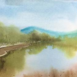 Original watercolor painting landscape for wall art size - 22x14In - 22x14