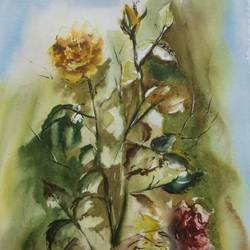 Original watercolor painting flowers for wall art size - 15x22In - 15x22