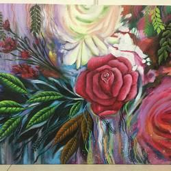 Flower Garden  size - 24x18In - 24x18