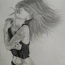 Tattooed girl size - 11.8x16In - 11.8x16