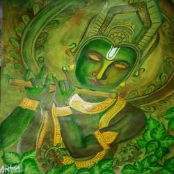 Lord Krishna painting  size - 11x14.5In - 11x14.5