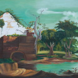 EVENING BY THE RIVER size - 30x18In - 30x18