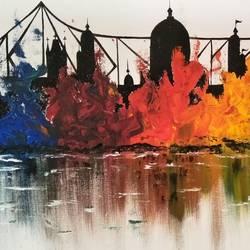 Abstract_Kolkata Skyline size - 26x15In - 26x15