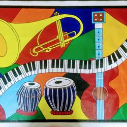 Abstract painting - Musical Instruments size - 50x34In - 50x34
