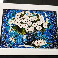 Daisies in a Blue Vase size - 10x13In - 10x13