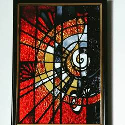 Abstract Musical Glass Painting size - 9x12In - 9x12