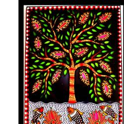 Madhubani Glass Painting size - 9x12In - 9x12
