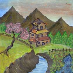 Landscape painting size - 4.14x5.85In - 4.14x5.85