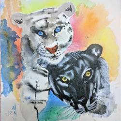 leopard painting size - 12x16In - 12x16