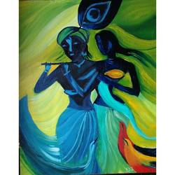 Radhe Krishna size - 20x16In - 20x16