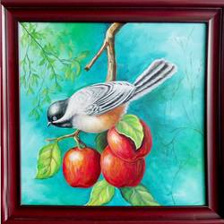 Bird with Apple size - 29x29In - 29x29