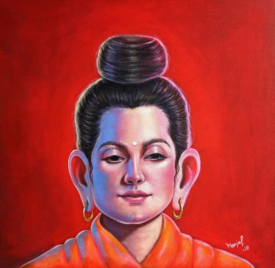 in search of buddha  3, 18 x 18 inch, manju prajapati,18x18inch,canvas,paintings,buddha paintings,paintings for dining room,paintings for living room,paintings for bedroom,paintings for office,paintings for kids room,paintings for hotel,paintings for kitchen,paintings for school,paintings for hospital,acrylic color,GAL01187222186,in search of buddha  3 size - 18x18in,ADR91187222186