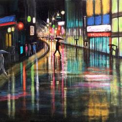 a beautiful city shining in the rainy season size - 18x12In - 18x12