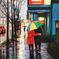 you and me in beautiful rain  size - 18x11In - 18x11