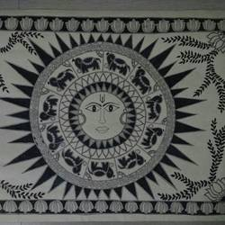 Sun God- madhubani size - 23x16In - 23x16
