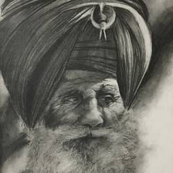 Sikhism nihang charcoal sketch (framed) size - 11x14In - 11x14
