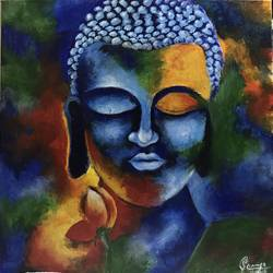 Buddha abstract acrylic painting size - 18x18In - 18x18