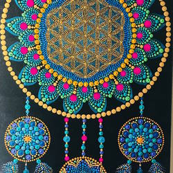 Dreamcatcher dot painting  size - 10x20In - 10x20