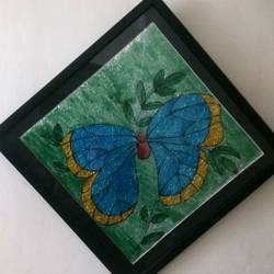 Glass painting butterfly size - 14x14In - 14x14