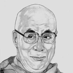 TIBETIAN BUDDHIST MONK DALAI LAMA size - 7.5x10In - 7.5x10