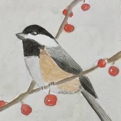 Charcoal Tit size - 8x12In - 8x12