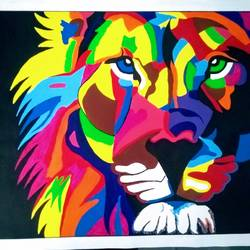 Modern Art Lion size - 32x24In - 32x24