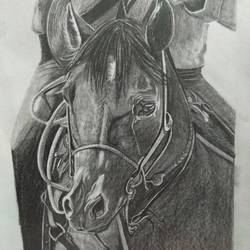 Cowboy on Horse size - 8x11In - 8x11