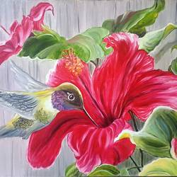 Bird and flower size - 18x24In - 18x24