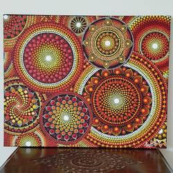 Sunburst mandala dot art size - 20x16In - 20x16
