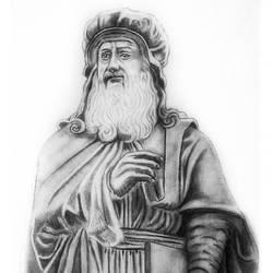 STATUE OF Leonardo da Vinci size - 7.5x10.5In - 7.5x10.5
