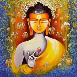 BUDDHA - PEACE BEGINS WITH SElf LOVE size - 36x36In - 36x36