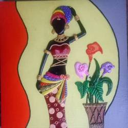Lady standing near Flower Pot size - 24x16In - 24x16