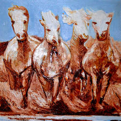 DIVINE HORSES size - 66x33In - 66x33