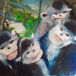 The Monkey Family size - 25x17In - 25x17