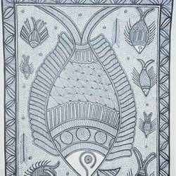 wildlife Madhubani Painting size - 11.5x16In - 11.5x16