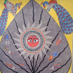 Wildlife Madhubani Painting size - 23x32In - 23x32