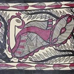 Madhubani Peacock size - 7.5x23In - 7.5x23