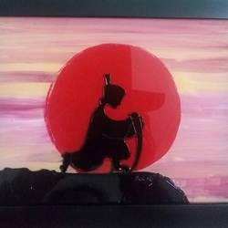 Rising sun samurai size - 8x6In - 8x6