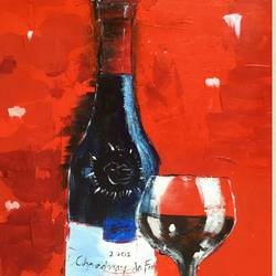 Wine and glass size - 15x20In - 15x20