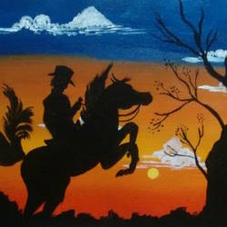 Cowboy sunset  size - 12x16In - 12x16
