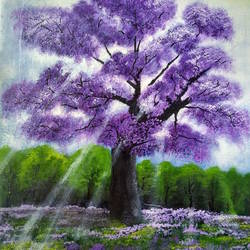 The Lilac Tree -morning mist mist size - 14x18In - 14x18