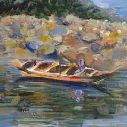 Fishing lady in dawki  river Assam size - 16x20In - 16x20