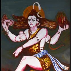 SIVA TANDAVAM (DANCING), size - 34x58In - 34x58