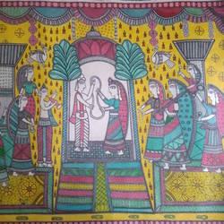 Ram Sita Madhubani Painting size - 32x23In - 32x23