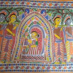 Radha Krishna Madhubani Painting size - 32x23In - 32x23