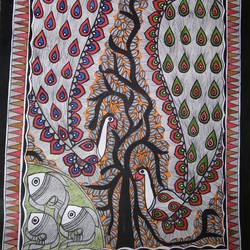 Wildlife Madhubani Painting size - 32x23In - 32x23
