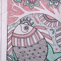 Wildlife Madhubani Painting size - 7.5x23In - 7.5x23