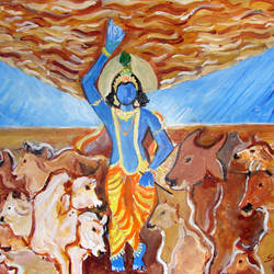 KRISHNA WITH COWS LIFTING GOVARDHAN PARVAT size - 17x13In - 17x13
