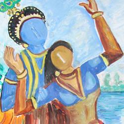 ROMANCE OF RADHA KRISHNA size - 13x17In - 13x17