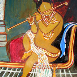CHILD KRISHNA PLAYING FLUTE size - 13x17In - 13x17
